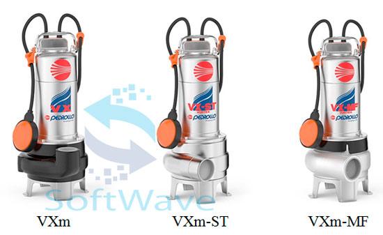 Погружные фекально-дренажные насосы Pedrollo VXm (VX), VXm(VX)-ST и VXm(VX)-MF